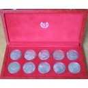 Tunisia 10 coins proof set Silver Km292-301 (1969 )