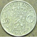 NETHERLANDS-INDIES TENTH GULDEN 1942-S SILVER COIN