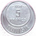 TUNISIA 5 FRANCS 1954  French protectorat (1881-1956)